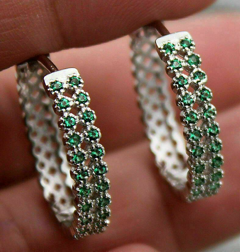 1.11Ct Emerald And Diamond Women/'s Vintage Hoop Earring In 14K White Gold Over