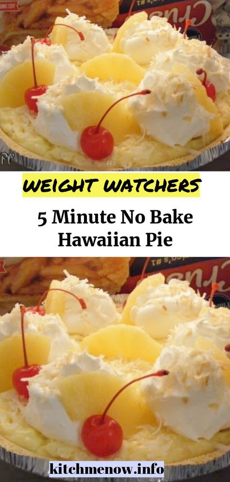 5 Minute No Bake Hawaiian Pie // #WeightWatchers #weight_watchers #Healthy #Skinny_food #recipes #smartpoints #letseat #eating #happy #nice #nobake #hawaiian#pie #hawaiianfoodrecipes