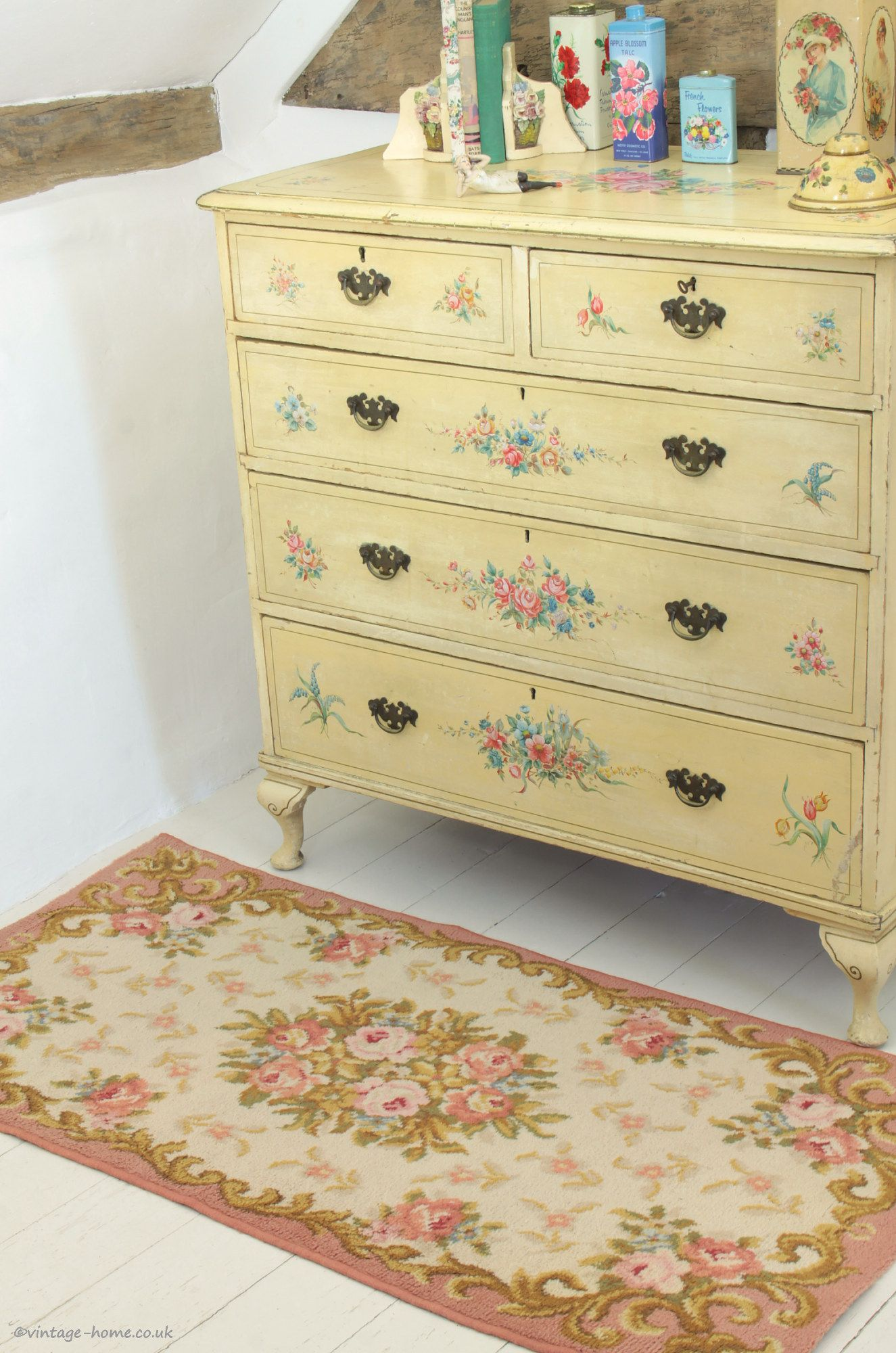 Pretty Vintage French Floral Rug And An Old Painted Chest Of Drawers Www Vintage Home Co U Shabby Chic Chest Of Drawers Modern Bedroom Furniture Painted Chest