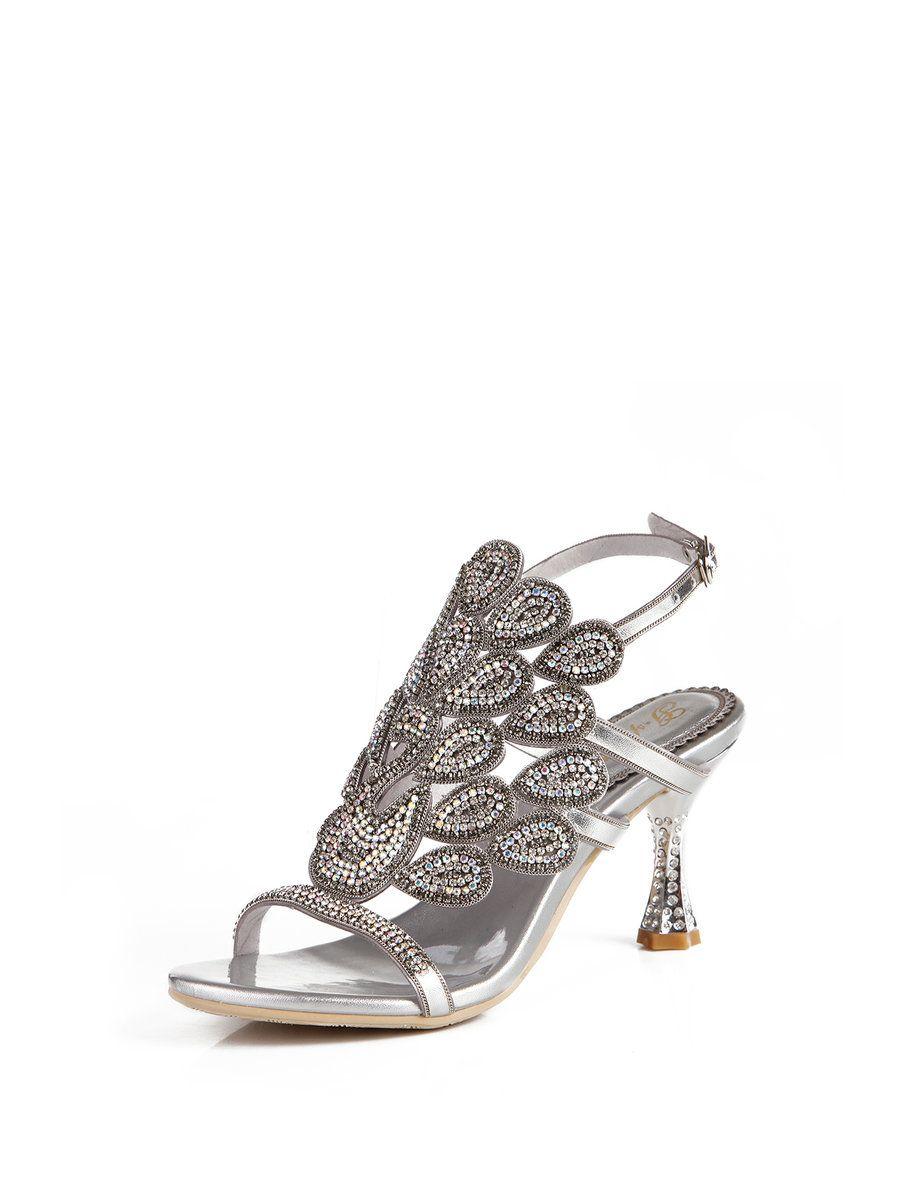 #AdoreWe #StyleWe Sandals❤️Designer G-sparrow Silver Summer Rhinestone Dress Sandals - AdoreWe.com