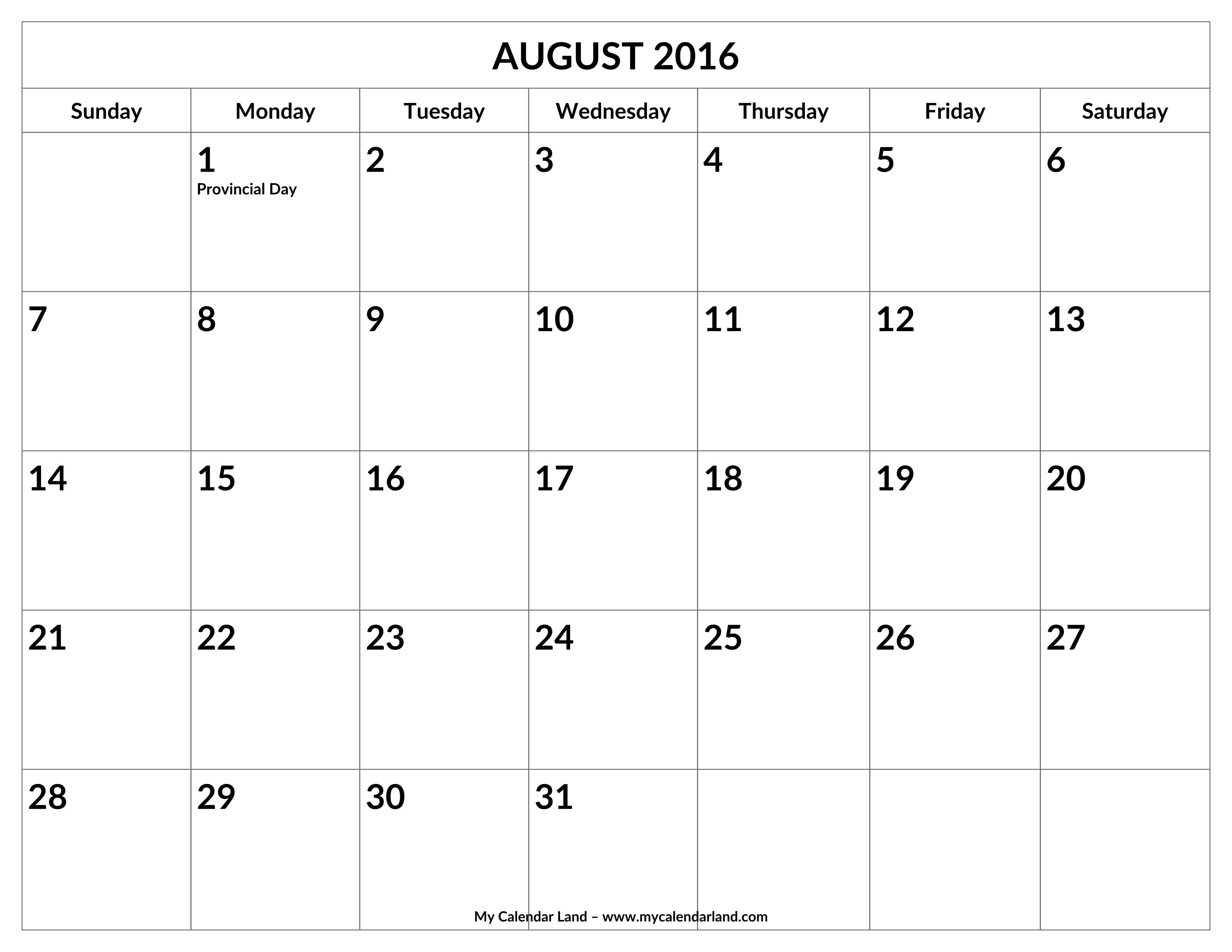 August Calendar Blank