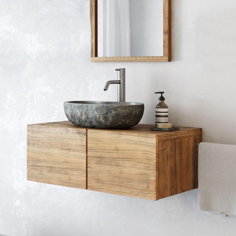 "Waschtischunterschrank ""FINN"" aus Kautschuk Holz hängend ..."