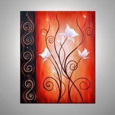 White Flowers White Lotus On Orange Background 11 X By Colorblast