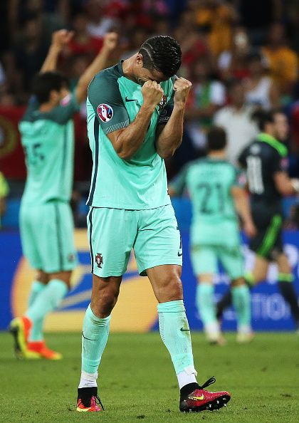 #EURO2016 Portugal's Cristiano Ronaldo reacts after winning the 2016 UEFA…