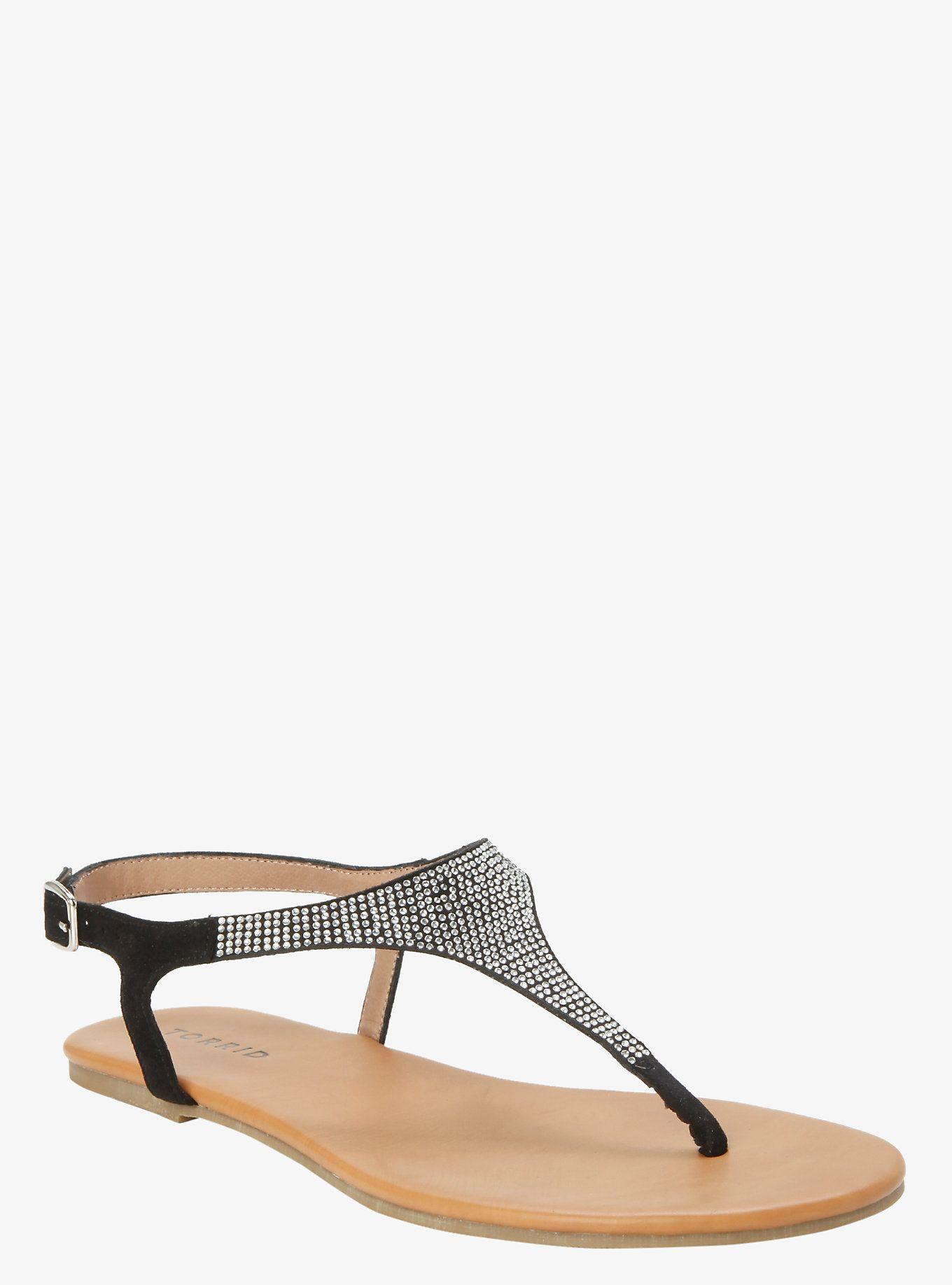 71ce974654e42c Rhinestone T Strap Sandals (Wide Width)