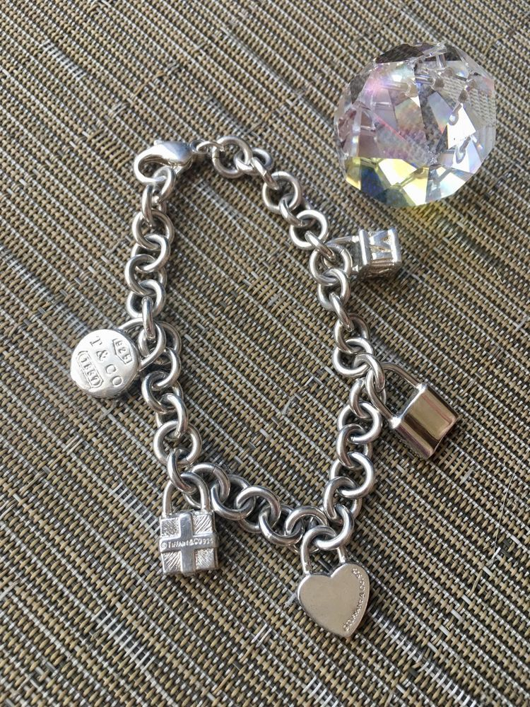Tiffany Co Vintage Sterling Silver 5 Charm Bracelet 8 Tiffanyco Charm Vintage Sterling Silver Sterling Silver Bracelets Charm Bracelet