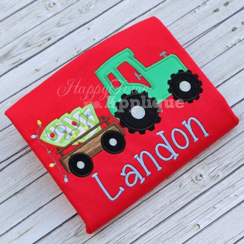 Tractor Trailer With Christmas Tree Appliqué Design