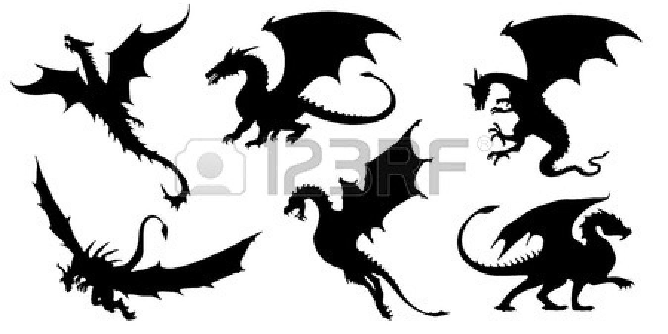 Dragon Silhouettes On The White Background Dragon Silhouette Small Dragon Tattoos Pencil Drawings Of Animals