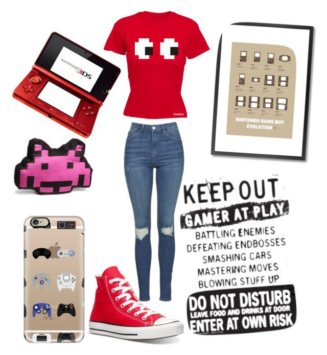 """Gamer girl"" by a-ms-valdez on Polyvore featuring Casetify, Nintendo, Monde Mosaic, Topshop and Converse"