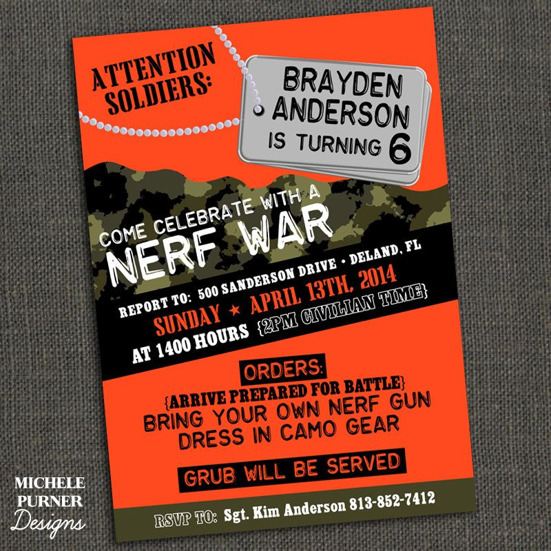 nerf birthday party invitations throughout ucwords] | birthday boy, Party invitations