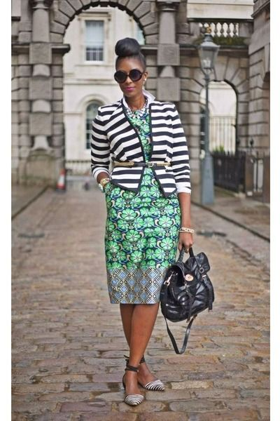 Discover this look wearing white cotton vintage shirts black reiss shoes green asos dresses prints working overtime by londontallgirl styled for