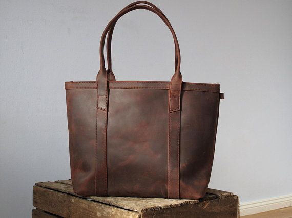 Leather Tote Bag Distressed Purse Per With Zipper Handbag Totes Dark Brown Color And