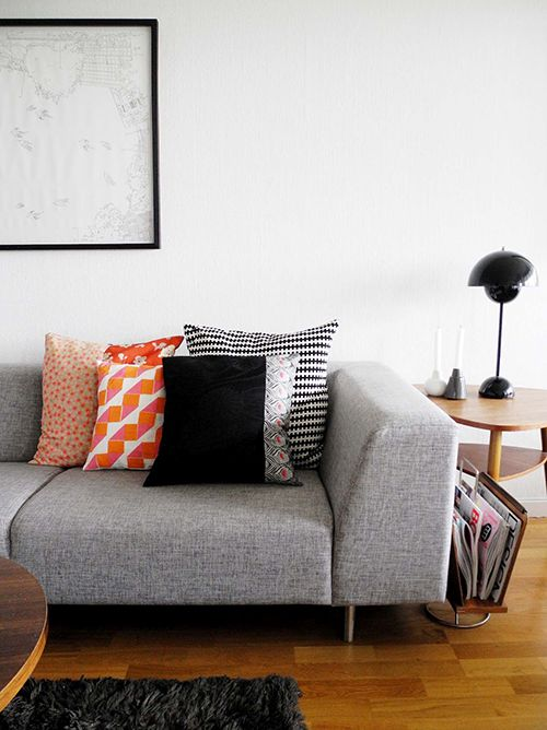White Walls Couch Throw Pillows Living Room Orange Grey Couch