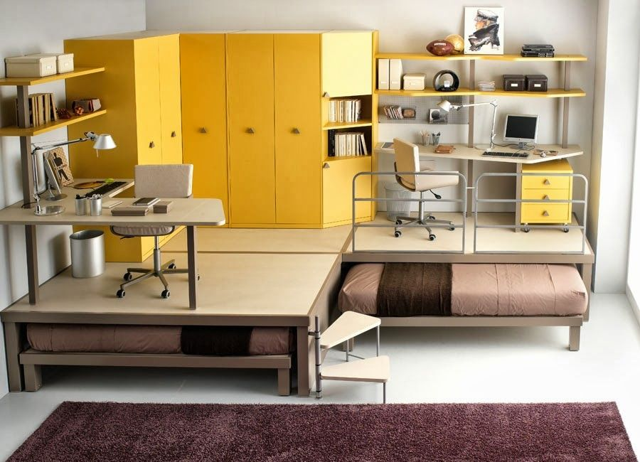 Space Saving Bedroom Furniture Adorable Bedroom Pull Out Beds Equipped Yellow Cabinets Work Tables Cream Review