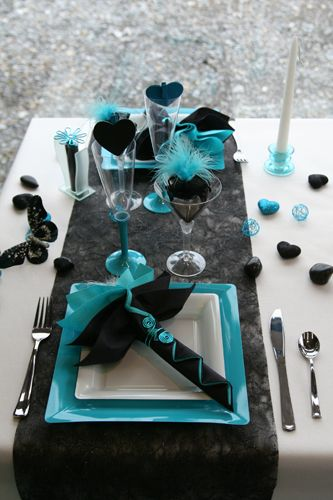 I\'m partial to a red/black/white themed wedding, but the turquoise ...