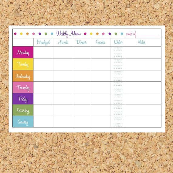 Printable Weight Training Daily Log: Daily Meal Tracker Printable PDF Weekly Menu By