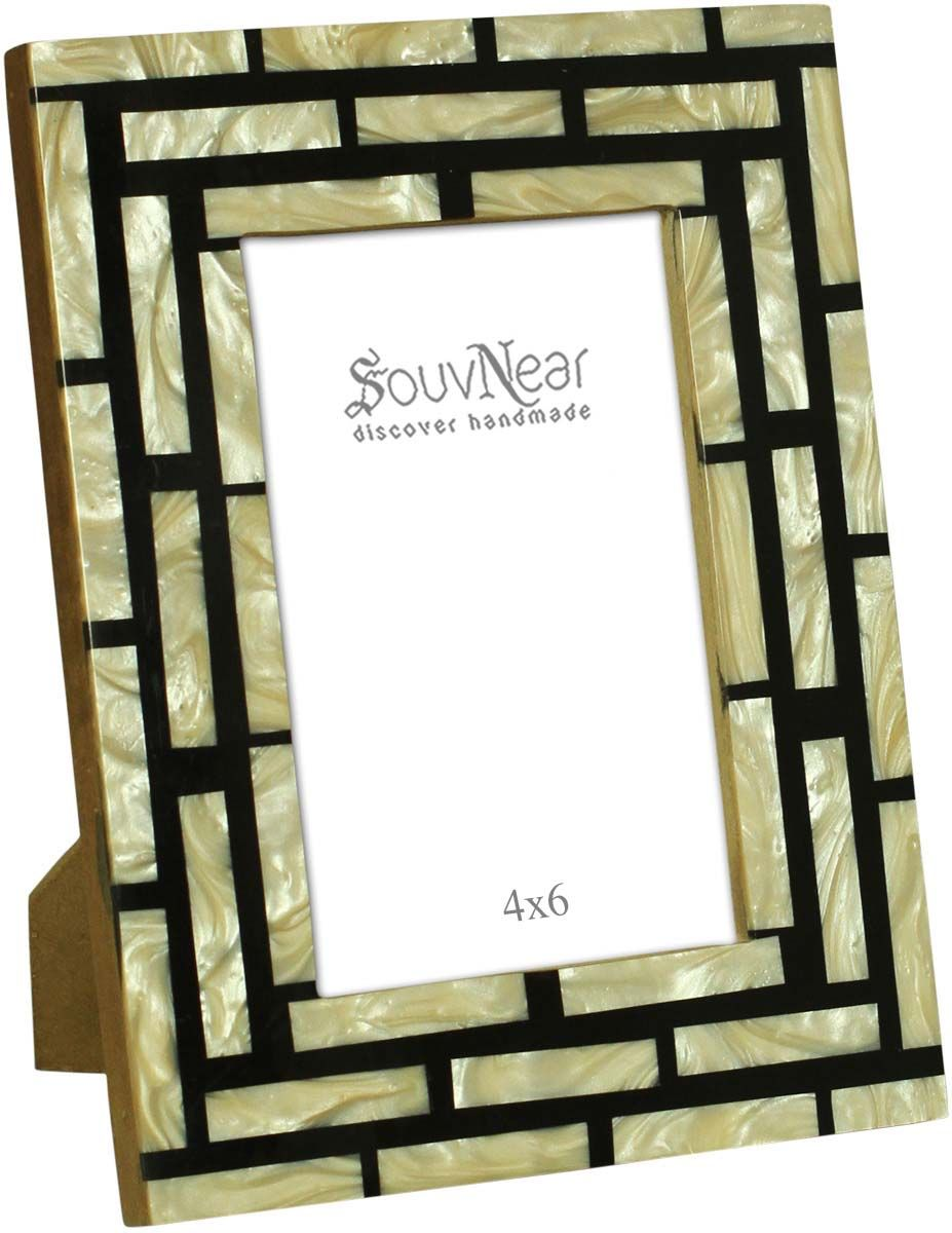 Rectangular Photo Frame in MDF, Resin & Mother of Pearl – White ...