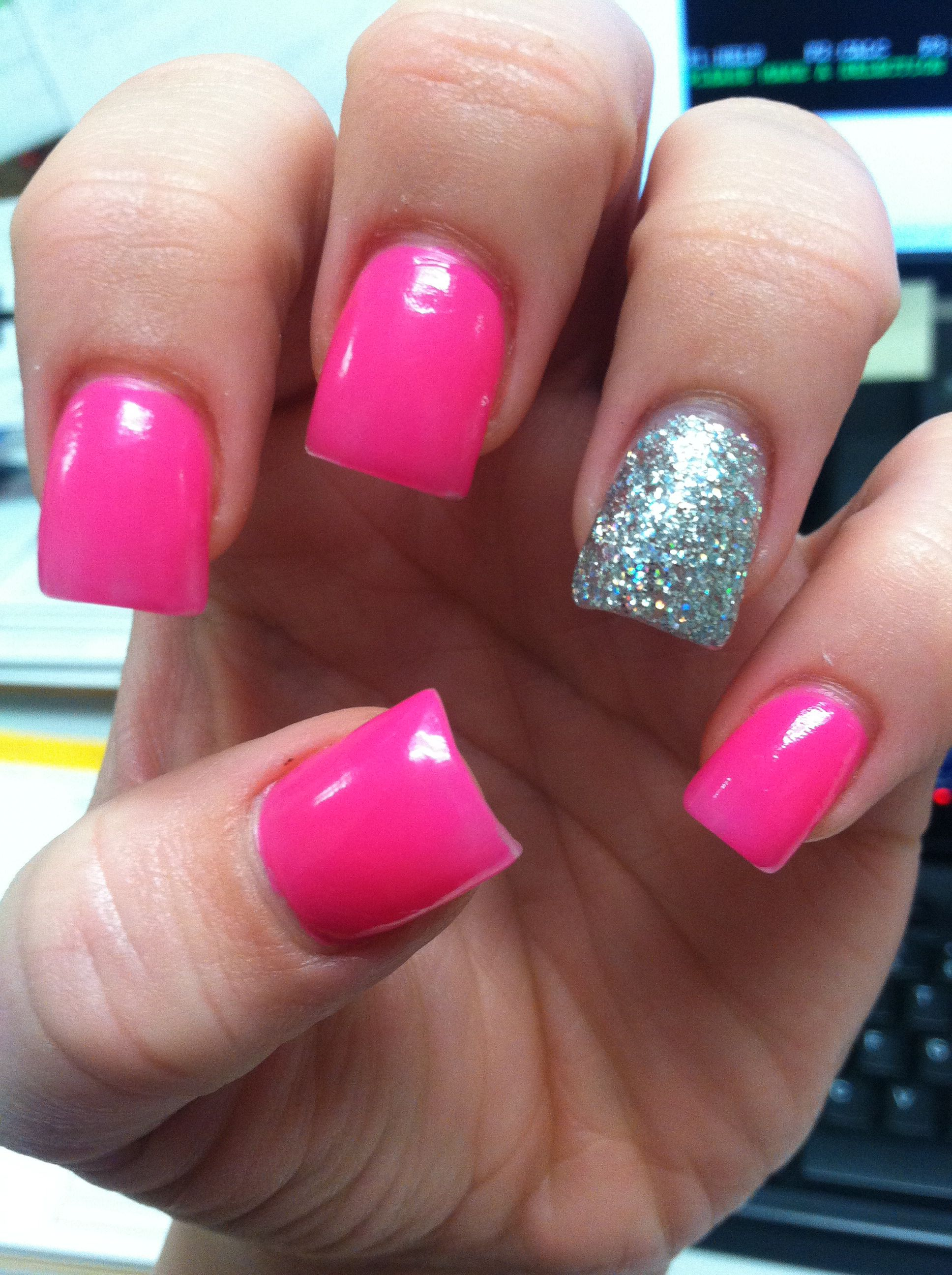 hot pink sparkle acrylic nails | nail designs | pinterest | makeup