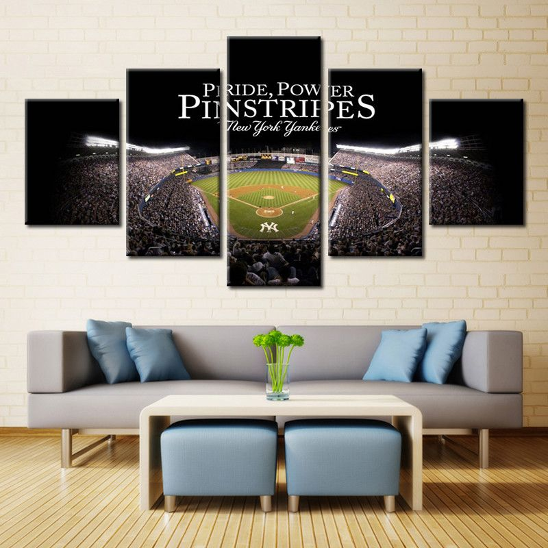 5 Pieces Yankee Stadium New York Yankees Modern Home Wall Decor Canvas Picture Art Hd Style Class Canvas Art Wall Decor Canvas Wall Decor Motorcycle Wall Art