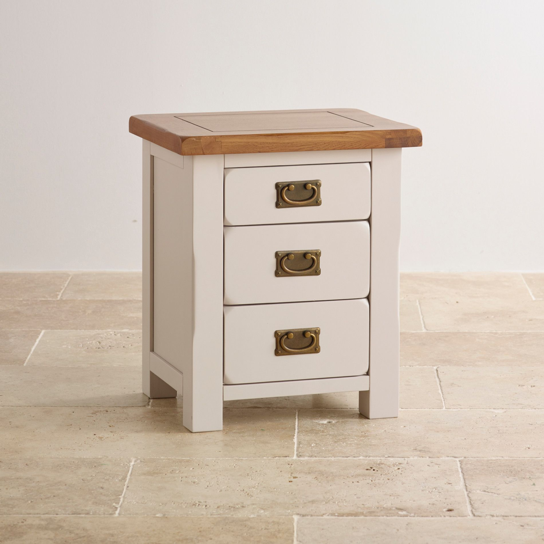 Kemble Rustic Solid Oak And Painted 3 Drawer Bedside Table Barn