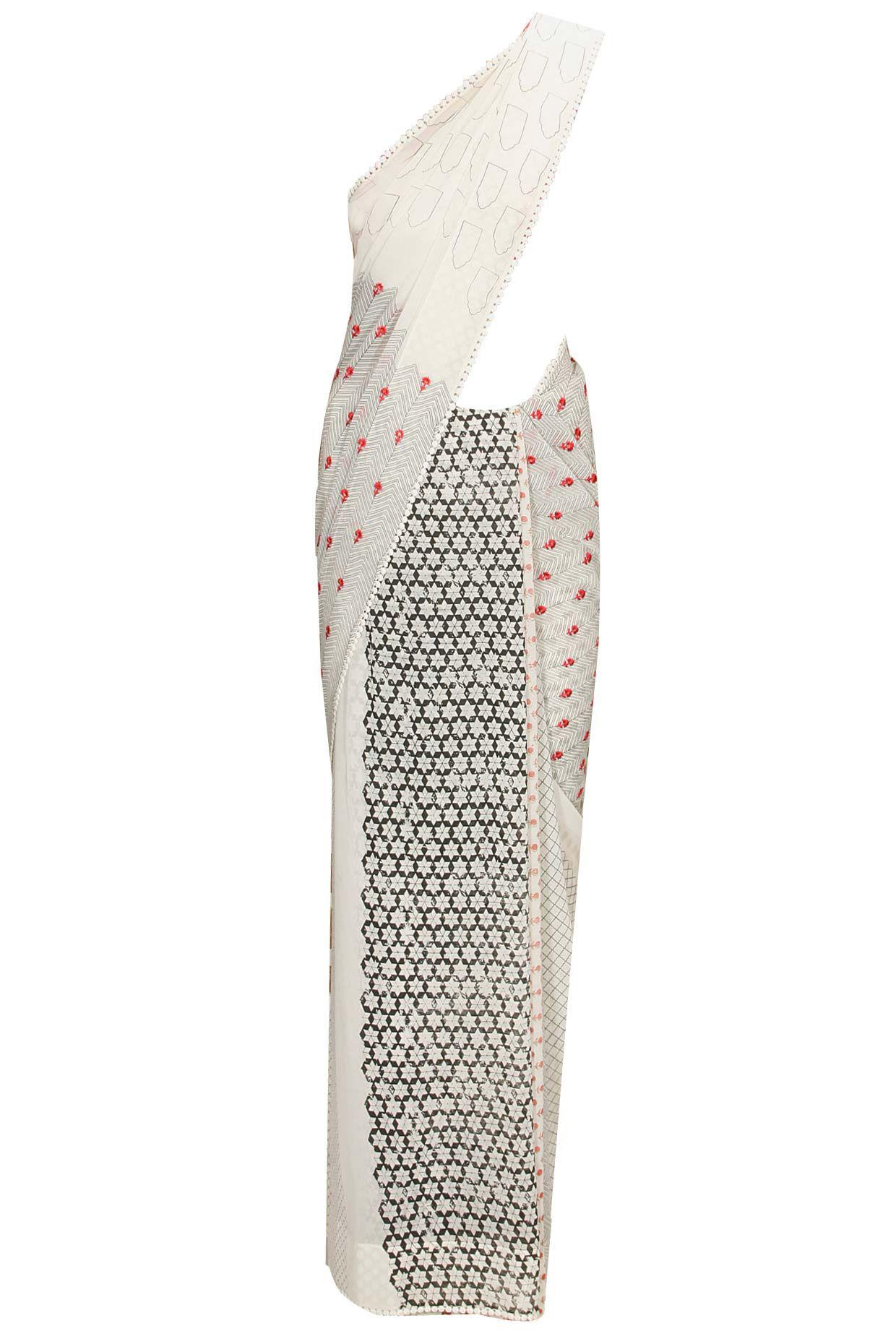 ivory floral embroidered sari pink bustier and ombre jacket modi sari anju modi anjumodi shopnow shopnow perniaspopupshop saree ke saree choli exotic n n beauty designers anju