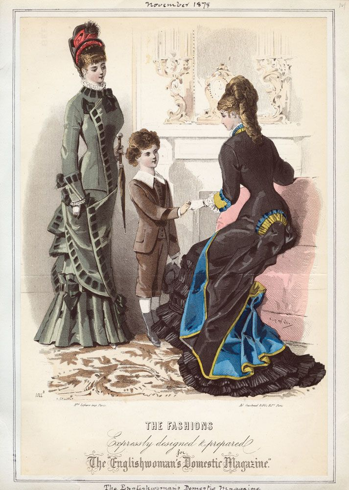 Nov., 1878, Englishwoman's Domestic Magazine -- Ooh, there is something unique, wouldn't you love to see the front of that gown?