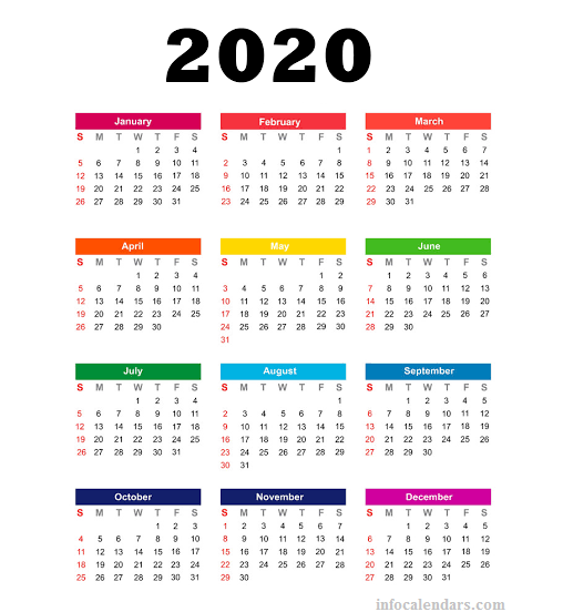 Yearly 2020 Calendar Use For Official Document Management Infocalendars Com Yearly Calendar Template Calendar Template Printable Calendar Template