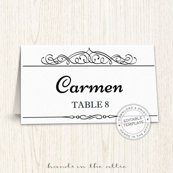 Printable place cards template, editable seating cards, wedding