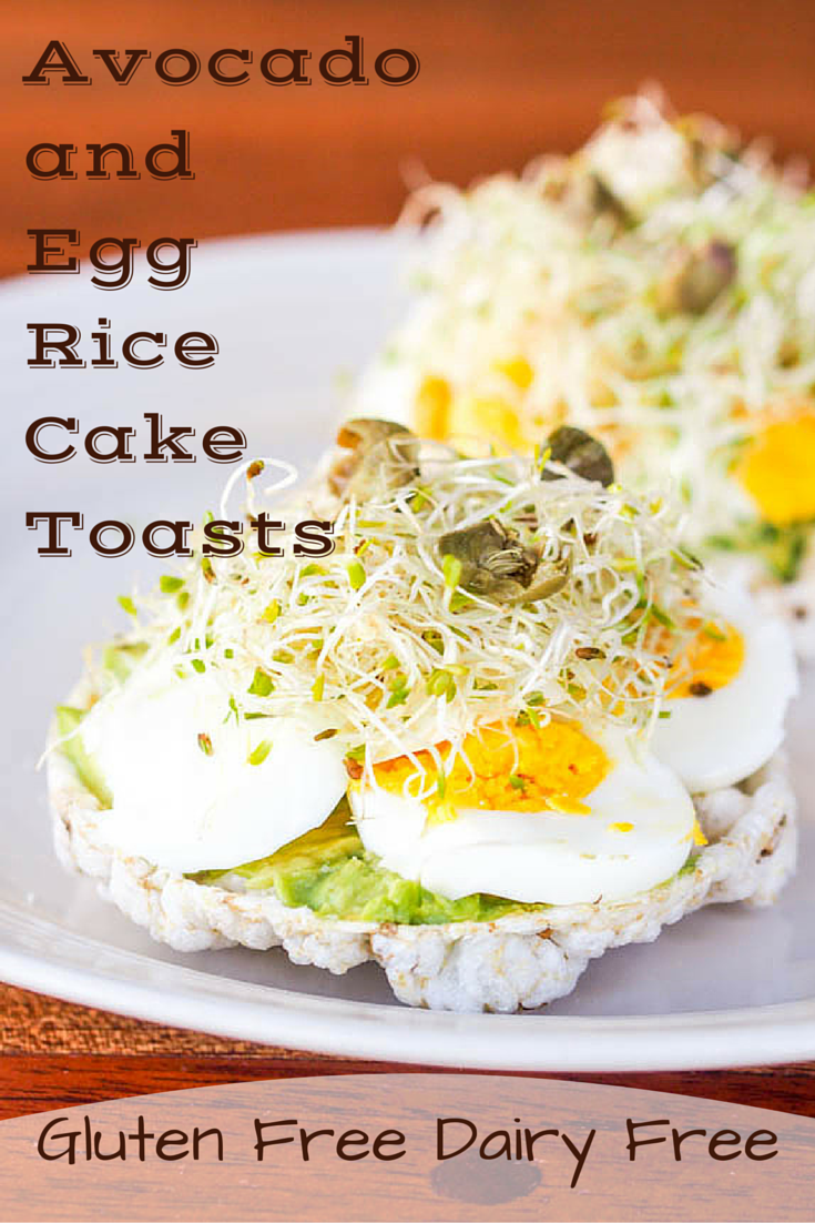 Breakfast Rice Cakes with Egg and Avocado Perfect in its simplicity – open faced rice cake toasts topped with soft avocado, hard boiled eggs, fresh alfalfa and salty capers. A gluten free and dairy free breakfast ready in minutes.