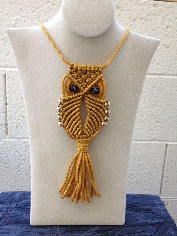 Macrame Owl Necklace (gold)   Macrame Owl   Pinterest ...