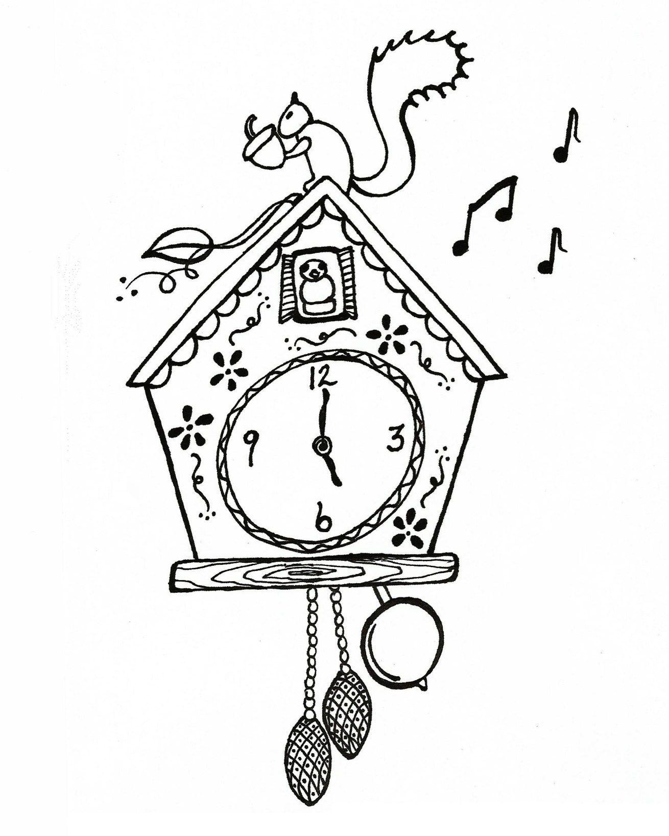 Cuckoo Clock Clock Drawings Cuckoo Clock Coloring Pages For Kids