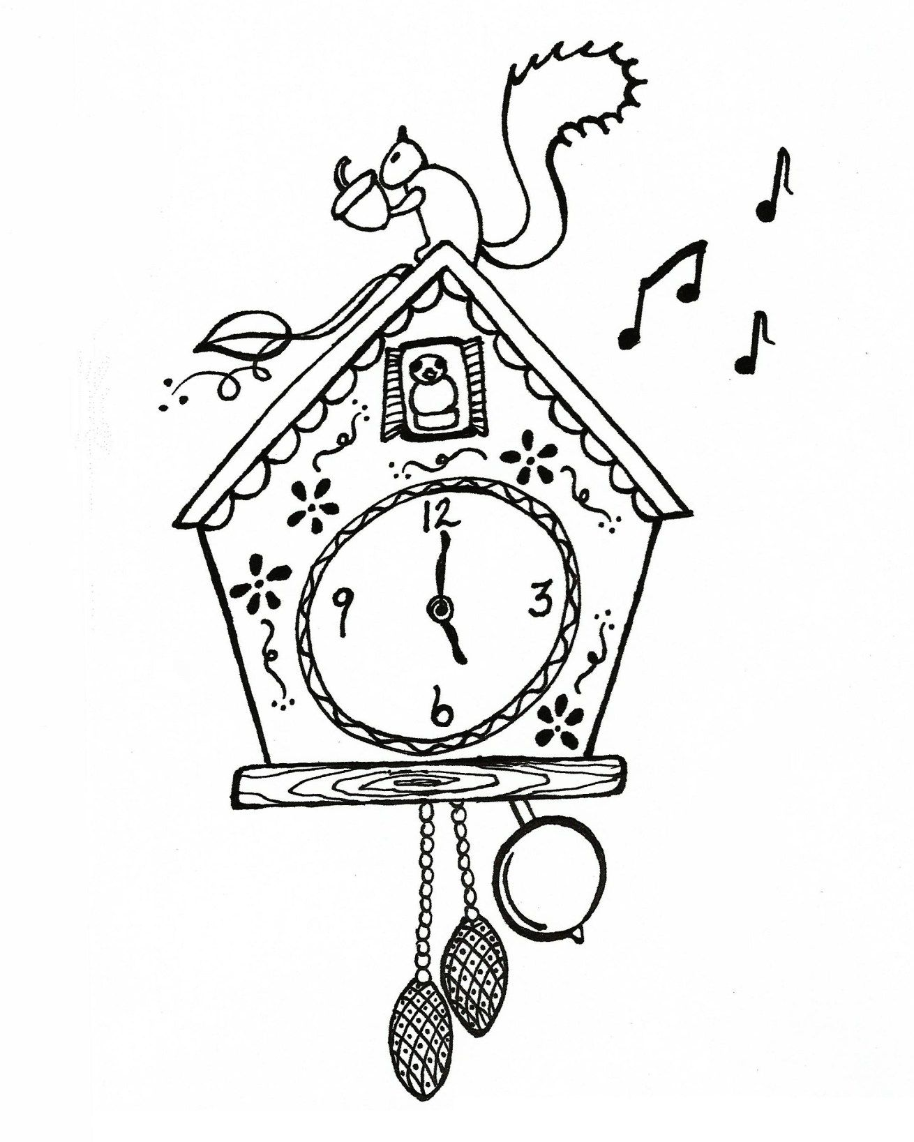 Cuckoo Clock Clock Drawings Coloring Pages For Kids Clock