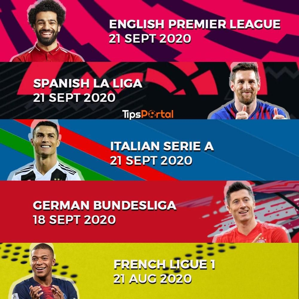 The Top 5 European League 2020 21 Schedule In 2020 Football Predictions Football Streaming Free Football
