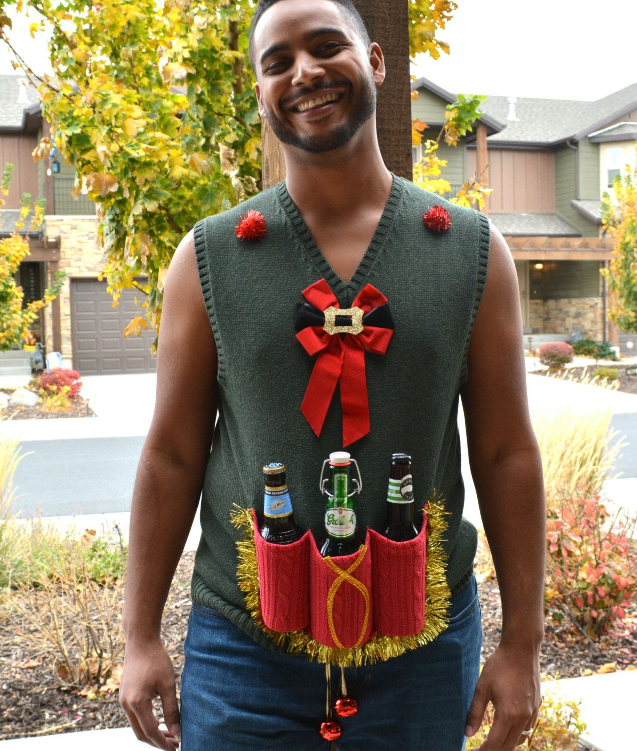 Beer holder, Mens Ugly Christmas Sweater vest, Large, redneck, alcohol,  liquor
