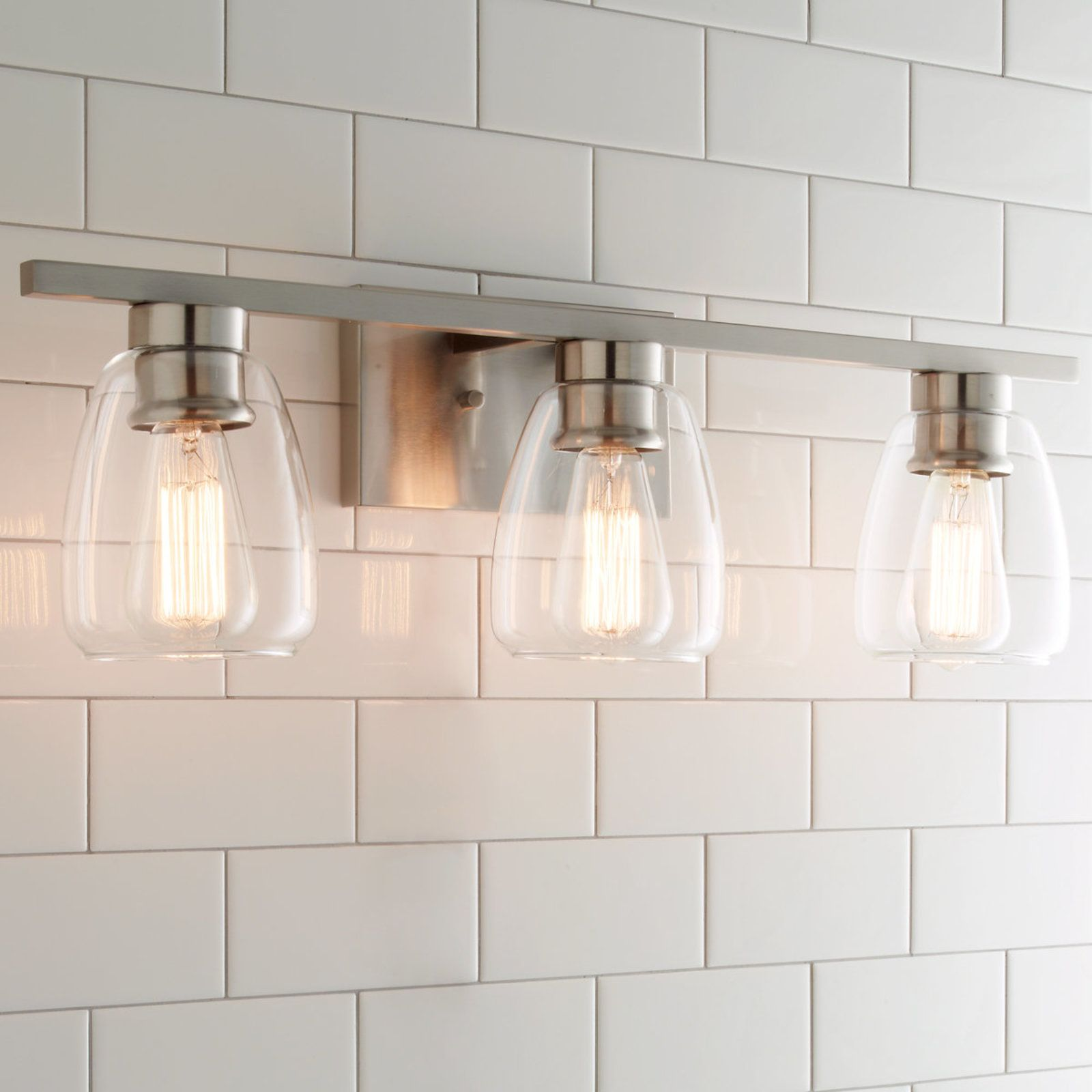 Sleek contemporary bath light light in bathroom