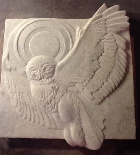 Carved marble owl bird sculpture stone relief original