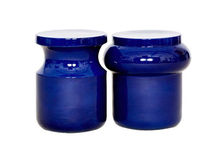 Une deco bleu nuit : Tabourets-bouts de canapé Dot, Charles Kalpakian (Christophe Delcourt)