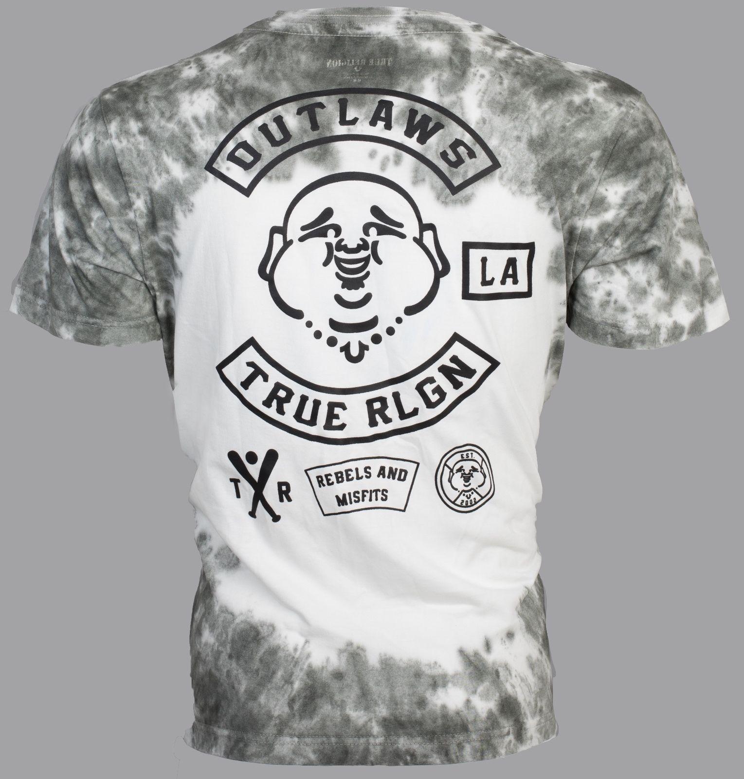 5ee72f5d6ea55 True Religion Mens T-Shirt Outlaws Buddha Dark Grey Tie Dye  89 Jeans Nwt