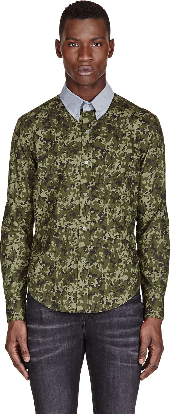 Band of Outsiders - SSENSE Exclusive Green Camouflage Contrast-Collar Shirt
