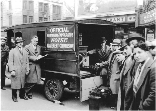 A municipal acoustics-measuring truck, New York Department of Health's 1930