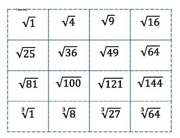 A number line activity , using square and cube root numbers.