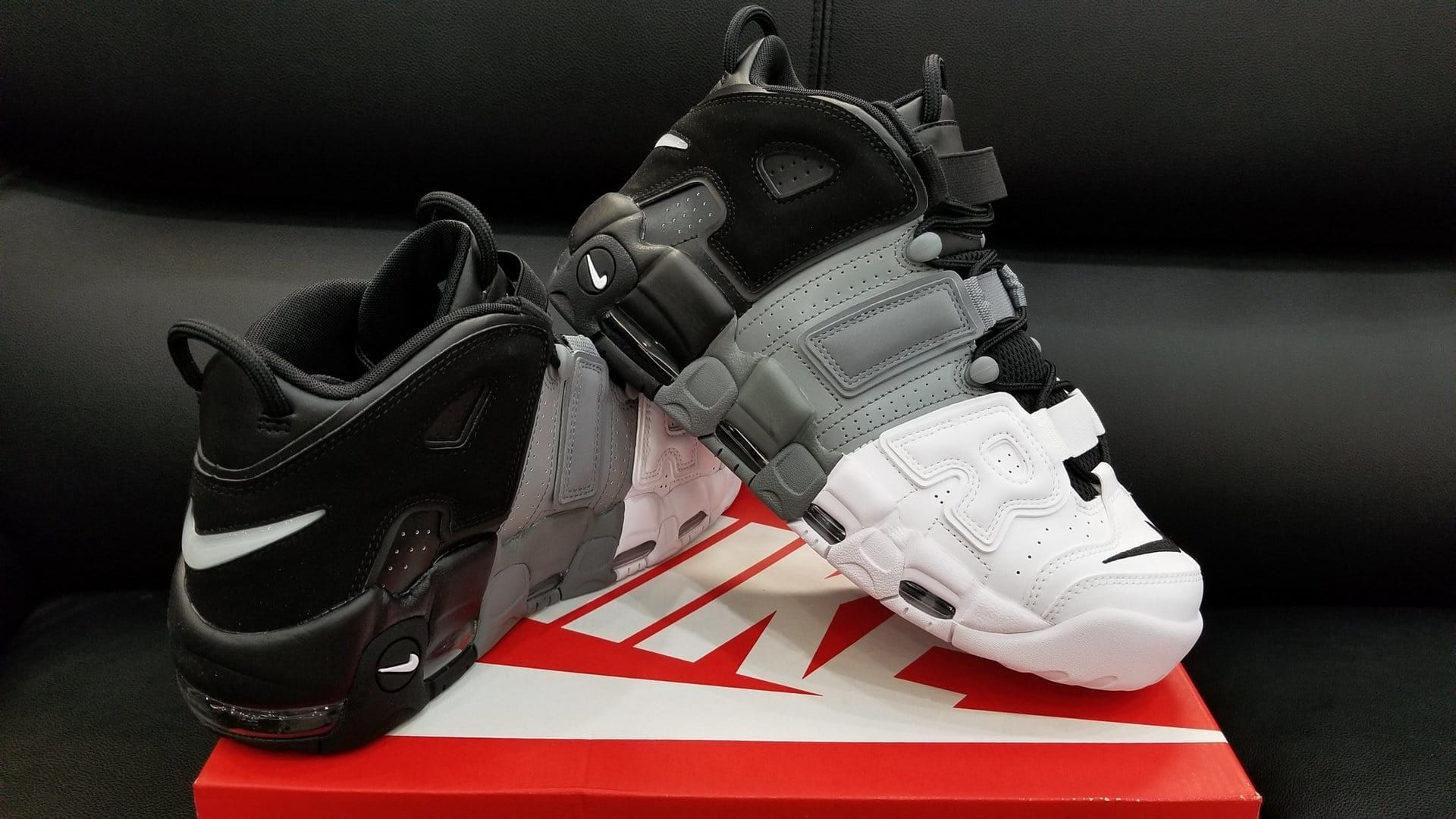 outlet store ab886 28a8e Nike Air More Uptempo Tri-Color Black Grey White Release Date Right 921948  002