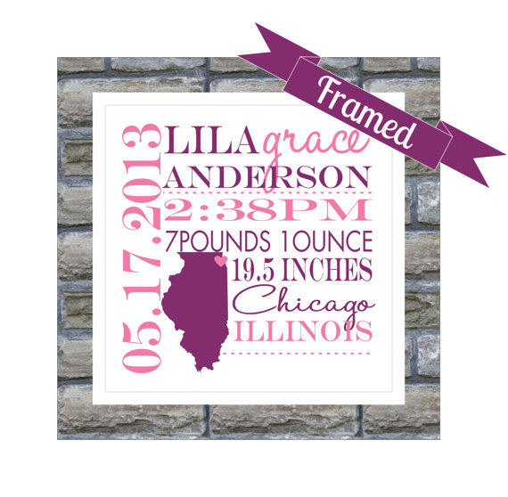 New Baby Gift Personalized Birth Announcement FRAMED State Map – Personalized Birth Announcement