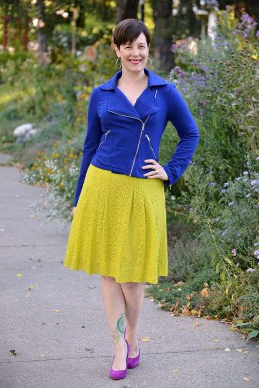 Already Pretty outfit featuring cobalt blue knit moto jacket neon lace skirt magenta suede ...