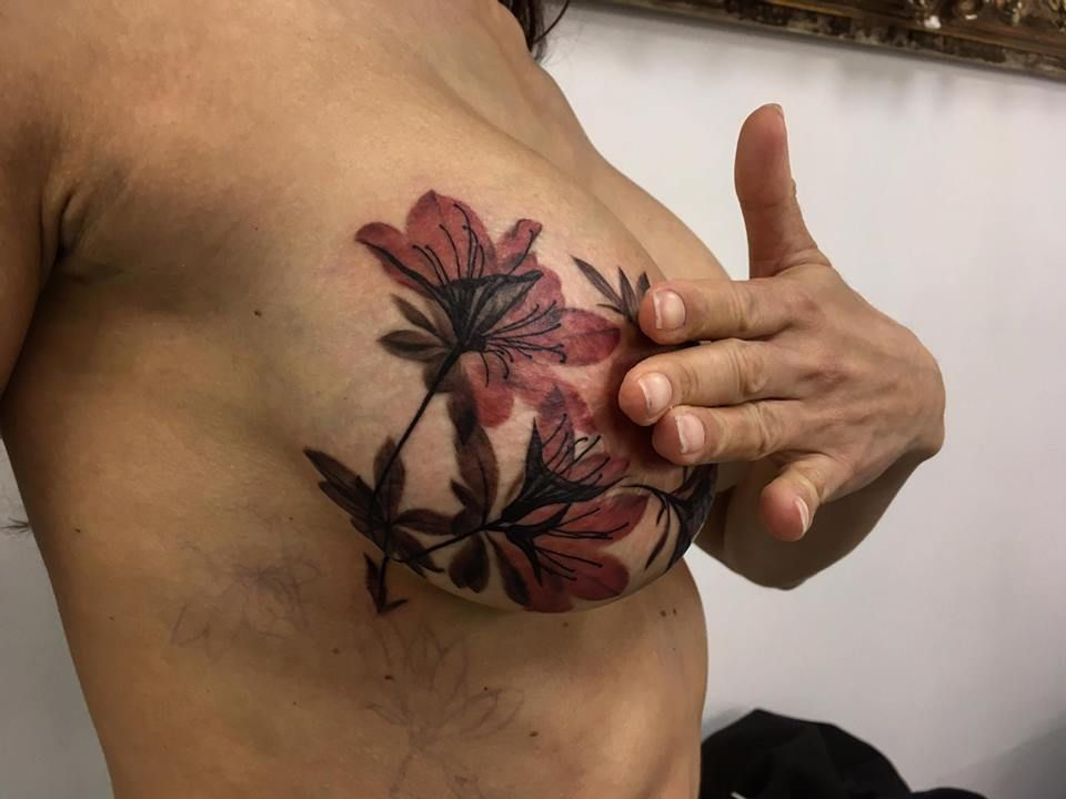 Breast implant surgery scars cover up tattoo breast flower tattoo ...