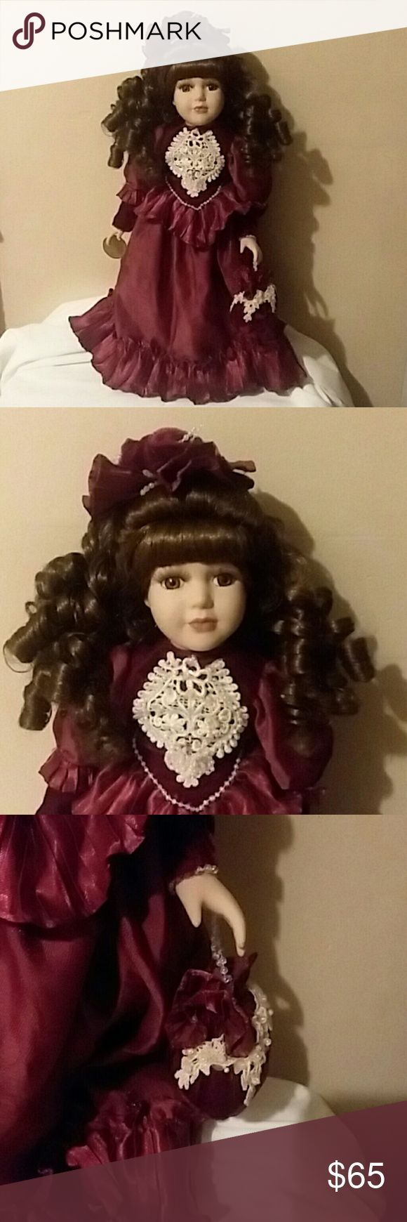 Porcelin doll 18 inch geourgous porcelin doll. Maroon  dress. Brown hair and eye... #dollvictoriandressstyles