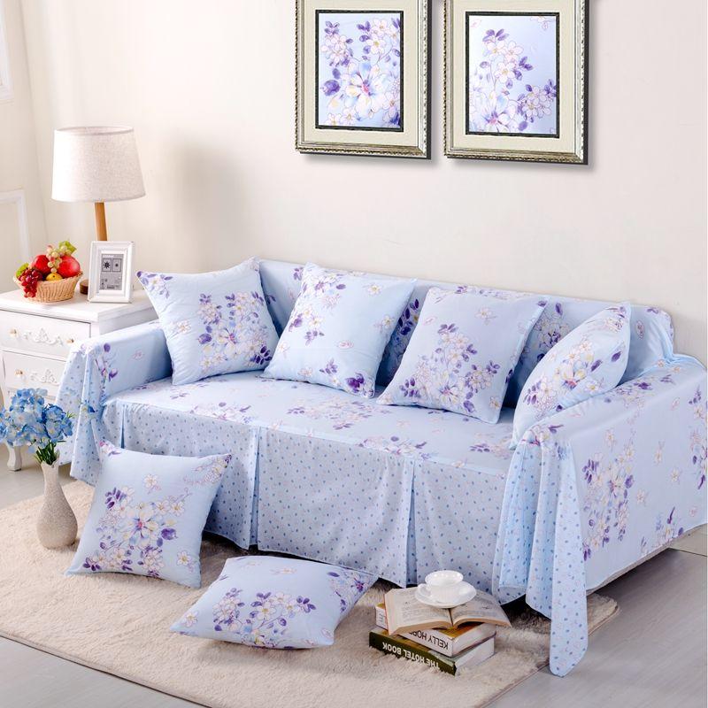 Sleeper Sofas SunnyRain Piece Pastoral Blue Flower Sofa Cover Sectional Sofa Covers l Shaped Sofa Slipcover