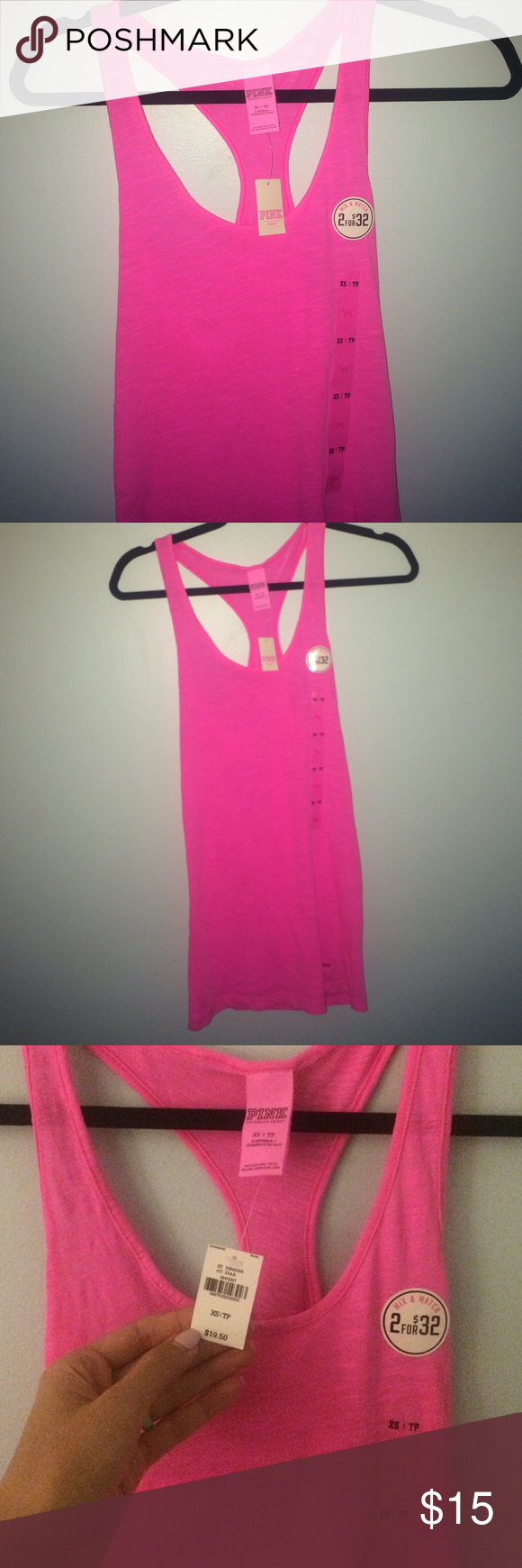 VS pink NWT racer back NWT never worn. Didn't fit me correctly. Bright pink super cute color!! good for working out or sleepwear 💎I accept reasonable offers💎 bundle to save! 💎 please no low balling ❌ PINK Victoria's Secret Tops Tank Tops