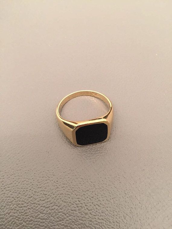 Solid 10k Rose Gold Engravable Rectangular Frame Face Signet Ring for Men Size 11.75