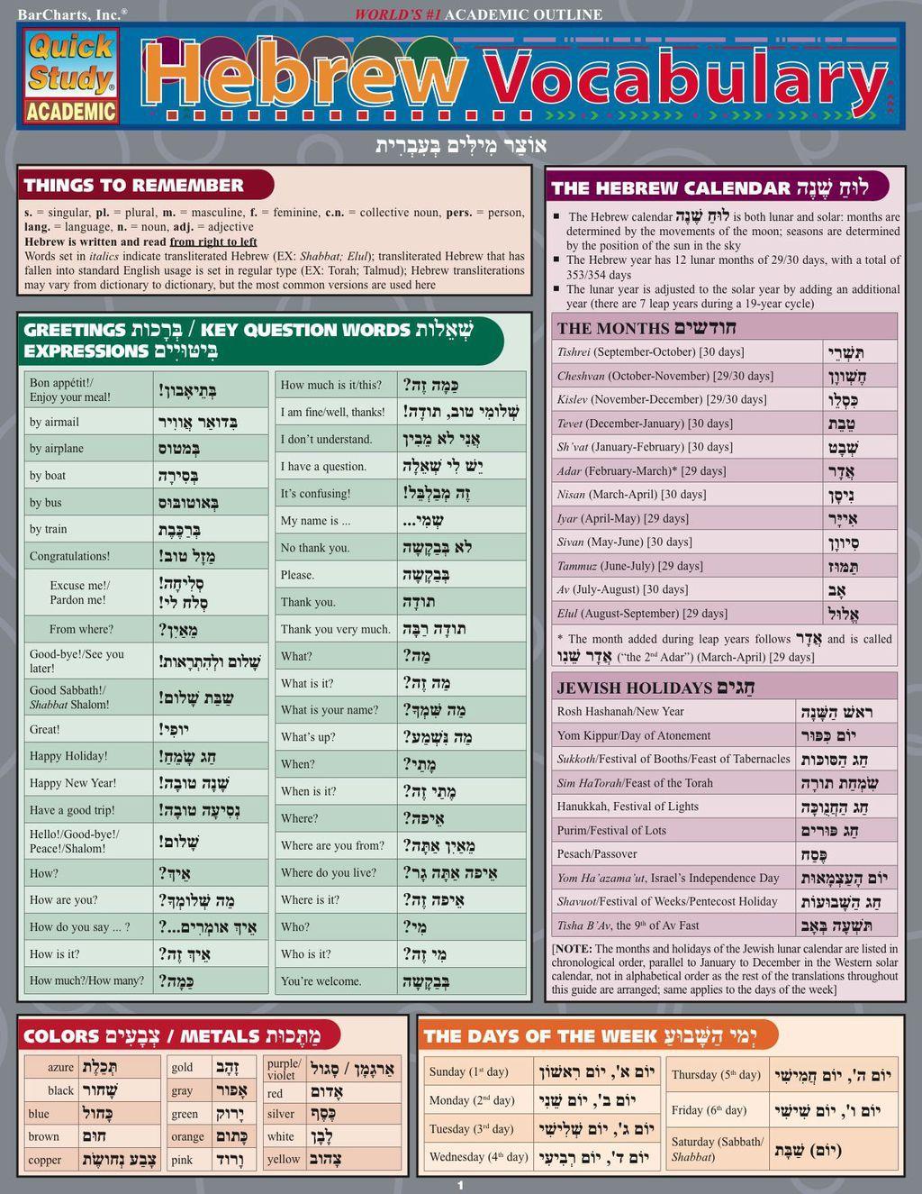 Hebrew Vocabulary Ebook
